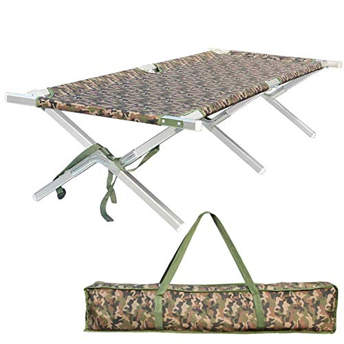 - Shaddock Fishing Portable Folding Camping Cot - Military Grade Aluminum Frame Adult Cot Bed with Zippered Storage Bag Perfect Base Camp, Travel Hunting - Test 400 lbs Weight Capacity