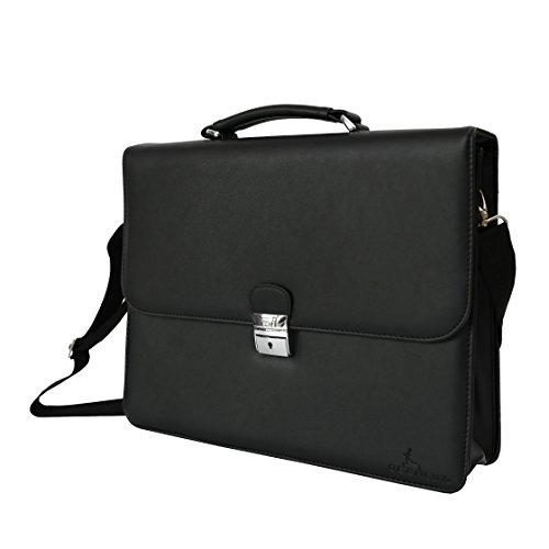 DEERLUX Men's Leather Laptop Briefcase, Black, One Size by DEERLUX