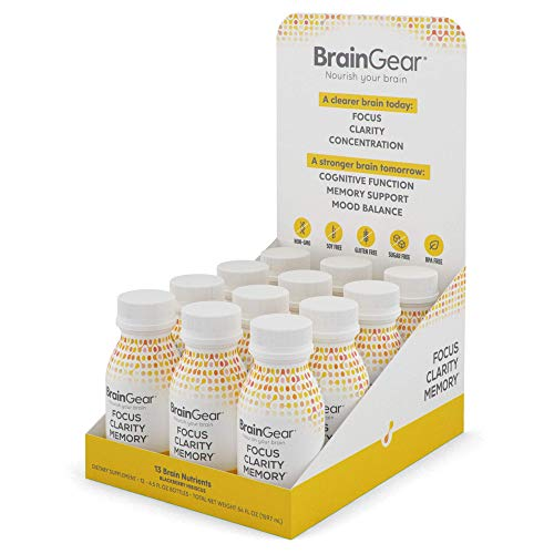 BrainGear Nootropic Brain Booster Shot, Drink Supplement, Lifts Brain Fog, Improves Focus, Clarity, Memory and Brain Function, Anti-Anxiety and Mood Balance, Not caffeine based, 4.5oz, Pack of 12