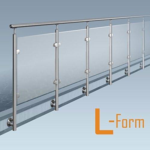Cristal-poste-barandilla, L-Form(1 x 90° de la esquina), kit de bricolaje, lateral de montaje: Amazon.es: Bricolaje y herramientas