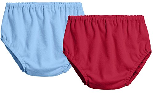 City Threads 2-Pack Baby Girls' and Baby Boys' Unisex Diaper Covers Bloomers Soft Cotton, Bright Lt. Blue/Red, 9/12 m