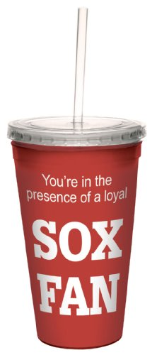 Tree-Free Greetings cc34080 Sox Baseball Fan Artful Traveler Double-Walled Cool Cup with Reusable Straw, (Sox Plastic Tumblers)