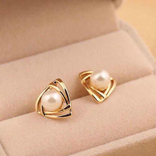 Pikul giftshop New Women 18K White Gold Plated Genuine Pearl Drop Stud Earrings Wedding Gift