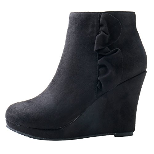 Black Leroy Alexis Women Boots Decorated Suede Wedge Ankle Flouncing Heeled PxfSxZ