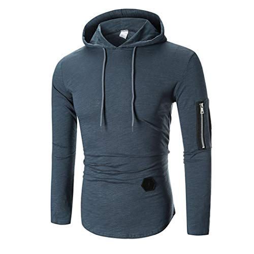 未来本体情熱的Yeefant メンズ フード付きポロシャツ おしゃれ ストリート 綿 無地 長袖シャツ 選べる5色