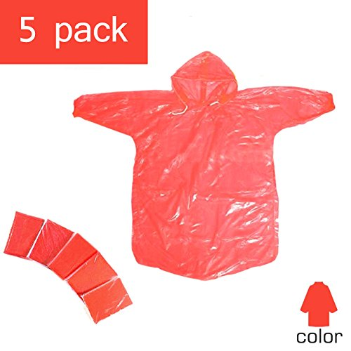 Disposable Kids Rain Poncho,Packable Rain Coat with Drawstring Hood,Pack for Emergency - Lightweight, Super Waterproof for Camping Hiking Disney Traveling Fishing Outdoor-Assorted Colors (red)