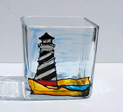 - Lighthouse Hand Painted Stained Glass Square Candle Holder Coastal Home Decor Gift
