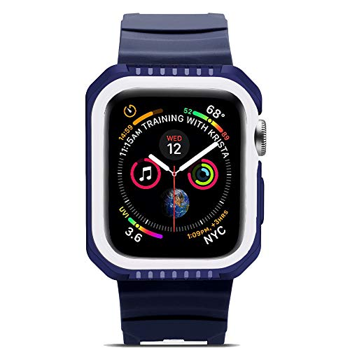 Peize Soft Silicone 2 in 1 Two-Tone Bumper Case Cover for Apple Watch Series 4 ()
