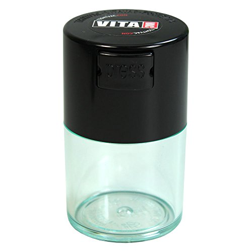 Vitavac - 5g to 20 grams Airtight Multi-Use Vacuum Seal Portable Storage Container for Dry Goods, Food, and Herbs - Black Cap & Clear Body (Airtight Cigar Box)