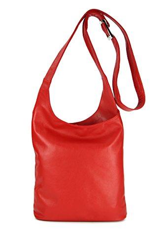 Belli® para Mujer (Napa, italiano bolsa de hombro Cross Over Bag rojo–�?4x 28x 8cm (W x H x D)