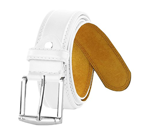 Moda Di Raza - Men's Classic Leather Belt - 1.5 Inch Width - Square Silver Polished Belt Buckle - Formal or Casual Dress Belt - PU Bonded Leather - White -
