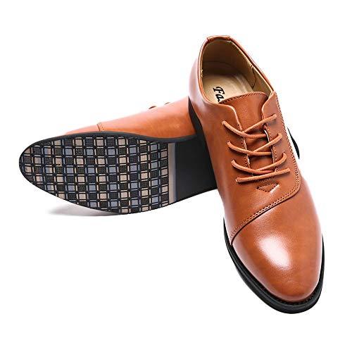 Zapatos Fang Hombre Puntiagudo Suave Color de del shoes Marrón de Ocasional Cuero Zapatos 2018 Formales Hombres clásica cordón 38 Oxford la Negro los de de tamaño EU Moda qEtEr