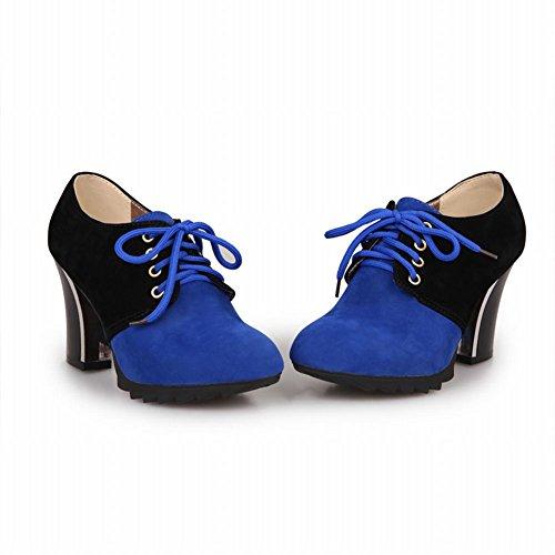 Carol Skor Kvinna Mode Spets-up Blandade Färger Chic Plattform Chunky Häl Fotled Klänning Boots Blue