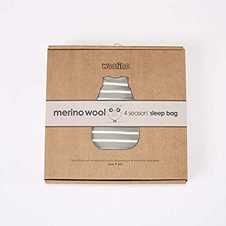 Woolino Baby Sleep Sack 4 Season Basic Merino Wool Baby Sleeping Bag 18-36 Months Gray