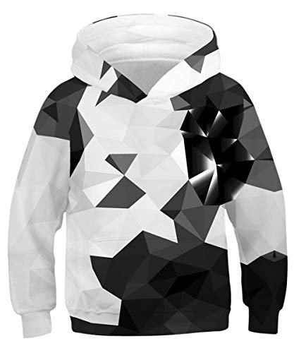 - GLUDEAR Youth Girls Boys 3D Galaxy Printed Pockets Sweatshirts Jacket Pullover Hoodies,Geometry,8-11 Years