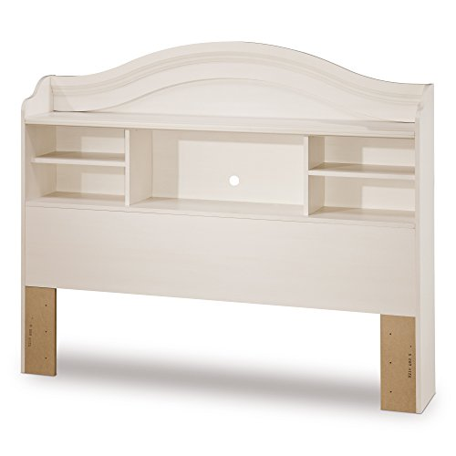 - South Shore Summer Breeze Bookcase Headboard with Storage, Full 54-inch, White Wash
