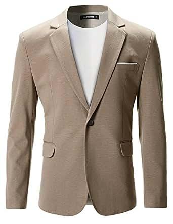 FLATSEVEN Mens Slim Fit Casual Premium Blazer Jacket (BJ102) Beige, XS