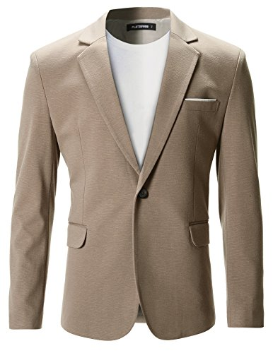 Premium Hombre Beige Chaqueta FLATSEVEN Casual Slim Fit Blazer wazXFUq