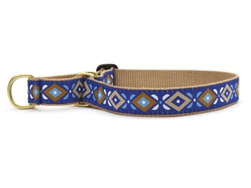 Aztec Blue Martingale Dog Collar - Medium (12.5-20 Inches) - 1 In Width
