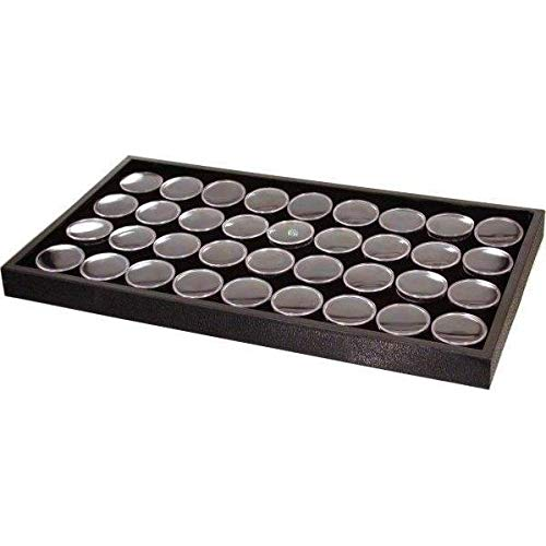 FindingKing 36 Black Foam Gem Jars Travel Case Display Tray Insert