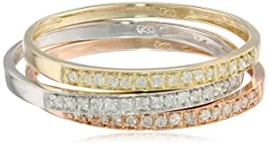 10k Tri-Colored Gold Diamond Stack Ring (1/4 cttw, J-K Color, I2-I3 Clarity), Set of 3, Size 9