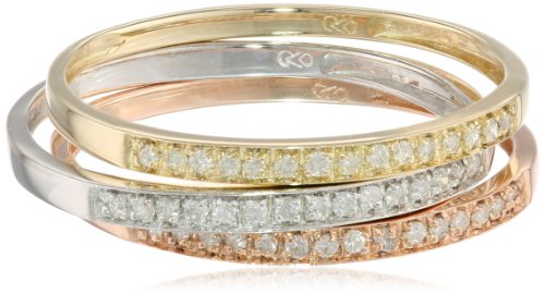 Gold Diamond Stack Ring (10k Tri-Colored Gold Diamond Stack Ring (1/4 cttw, J-K Color, I2-I3 Clarity), Set of 3, Size 9)