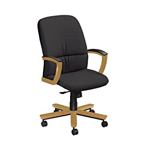 National Office Furniture Triumph High Back Executive Wood Office Chair, Honey Maple, Black Faux Leather