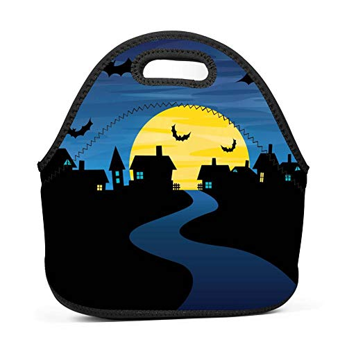Halloween Night Lunch Bag Reusable Bento Tote Bag Storage Bag with Zipper for Children -