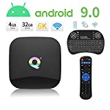 Android Boxes, Q Plus Android 9.0 TV Box Smart Media Box 4 GB RAM 32 GB ROM H6 Quad Core WiFi 2.4G Ethernet USB 3.0 Support 6K, 3D, Extra TF Card,with a Backlit Mini Wireless Keyboard