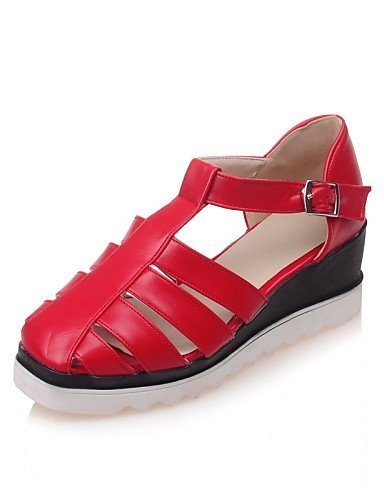 ShangYi Women's Shoes Leatherette Wedge Heel Wedges Sandals Casual Black / Red / White Black URyjJ