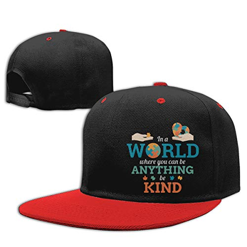 in A World Anything Be Kind Puzzle Autism Awareness Hip Hop Baseball Cap, Unisex Solid Flat Bill Adjustable Snapback Hats Red
