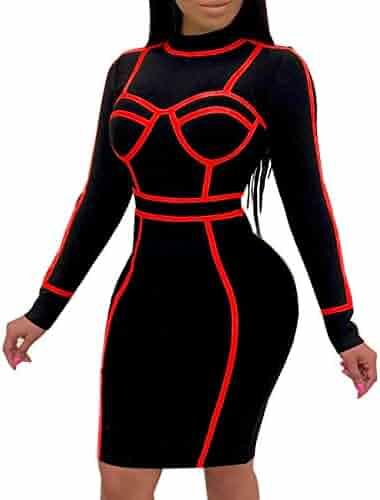 b8f9e43ce93 BestGirl Women s Sexy Bodycon Long Sleeve Dresses Clubwear Midi Dress
