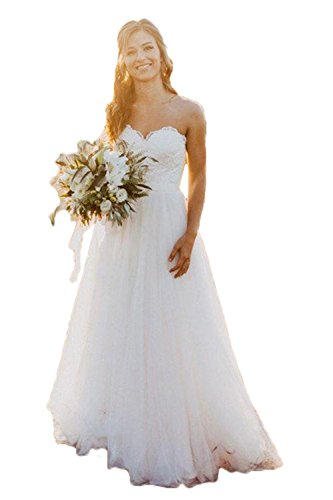 Libaosha Sweetheart A-Line Tulle Bridal Gowns Beach Wedding Dresses (US12, -