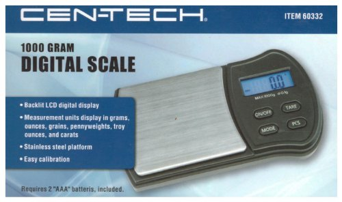 CEN-TECH 1000 Gram Digital Scale with Stainless Steel Platform and Backlit LCD Display (CT-60332) For Measurements in Grams (g), Ounces (oz), Grains (gn), Pennyweights (dwt), Troy Ounces (ozt) and Carat (ct) Units