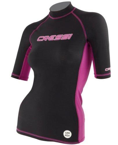 Cressi Damen Rash Guard Kurzarm-Shirt, Schwarz Rosa, Kurzarm - SM
