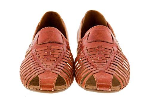 Kvinna 771 Rustik Cognac Läder Boho Slip På Mexikanska Huaraches Stängd Tå Chedron