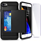 iPhone 6P/ 6sP Plus Case with Card Holder and[ Screen Protector Tempered Glass x2Pack] SUPBEC i Phone 6 plus / 6s plus Wallet Case Cover with Shockproof Silicone TPU + Anti-Scratch Hard PC (Black)