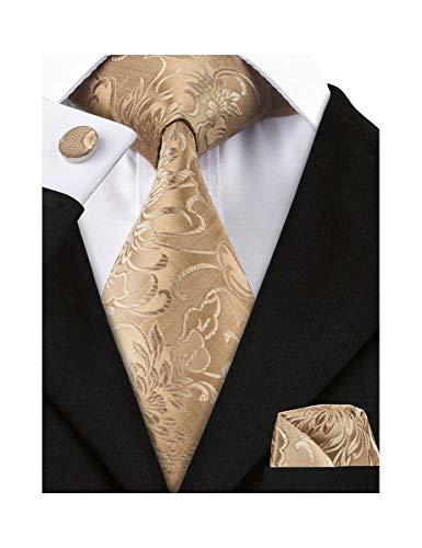 Barry.Wang Mens Solid Gold Necktie Woven Silk Tie hankerchief Cufflinks ()