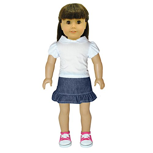 American Girl Dolls Clothes - Cool Jean Skirt and shirt White Shirt Combo