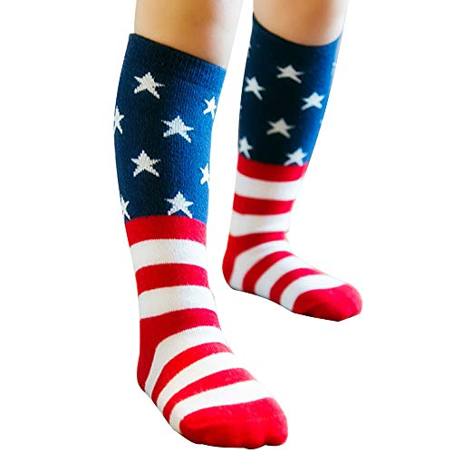 USA Flag Socks Kids Socks Casual Crew Fashionable Cotton Striped and Star Socks Knee High American Flag Sock for Boys, Girls, Baby, Toddler & Child (4-6 years)