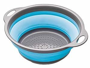 Kitchen Craft Colourworks - Escurridor plegable (24 cm), color azul