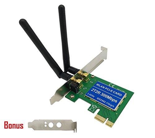 Whizzotech Wireless PCI Express Network Card Desktop WIFI Adapter 300mbps