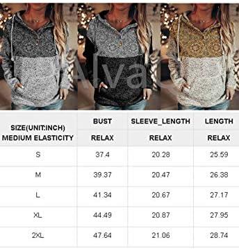 AlvaQ Womens Geometric Print Drawstring Hoodies Long Sleeve Casual Hooded Sweatshirts Pullover Tops