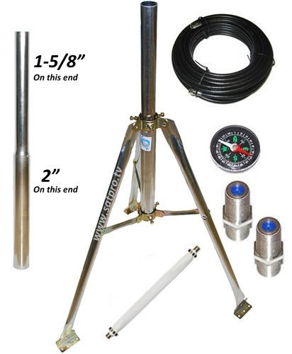 "Satellite Tripod Kit for Directv, Dish Network and FTA 2"" & 1 5/8"" OD Satellite Mount with 50 feet of cable, compasss, flat cable and barrel connectors"