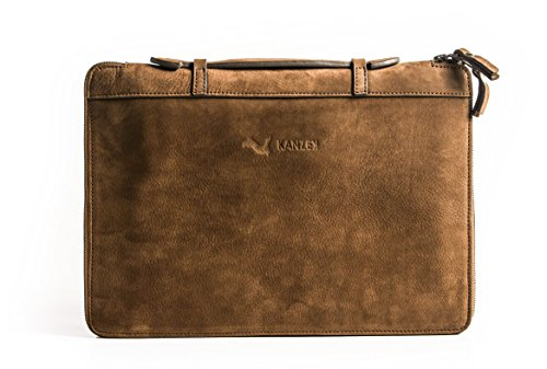 KANZEK Business Slim Full Grain Zippered Leather Portfolio/Organizer/Folio with Handles, Premium Materials, Functional Design, Luxury Metal Zippers (15in, Vintage Cognac)