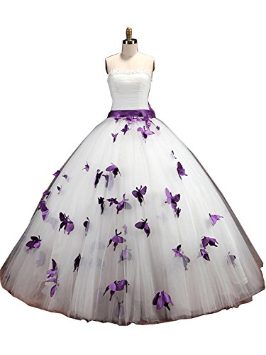 Sisjuly Women's Strapless Butterfly Floral Sash Ball Gown Wedding Dress 10 Purple