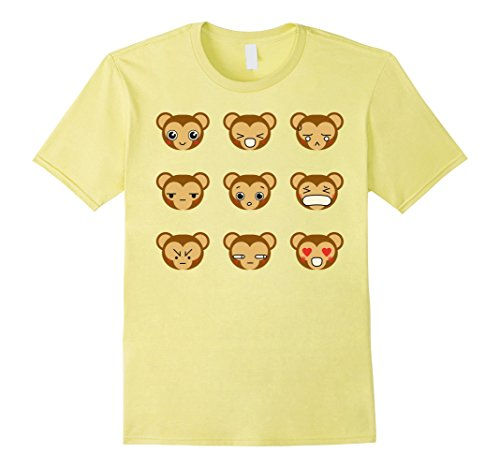 Mens Cute Monkey Emoji Tshirt For Halloween Costume Gifts Idea Large Lemon (Homemade Halloween Costumes Ideas For 2017)