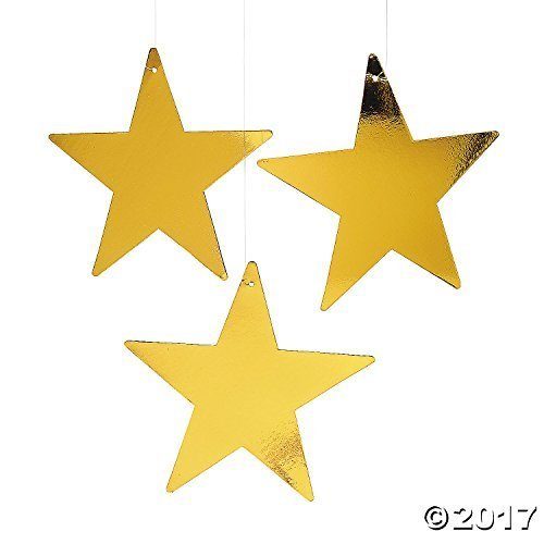 "Fun Express Gold Star 12"" Cutout - 1 Dozen Gold Foil Cardboard Star Cutouts"