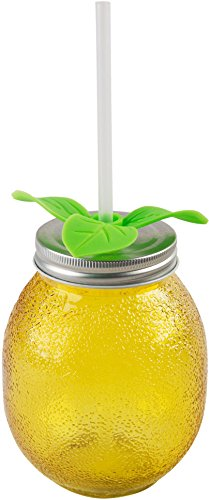 Yellow Lemon Sipper With Straw