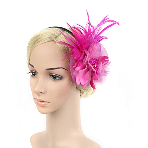 SZTARA Netting Feathers Big Flower Headband Party Girls Women Fascinator Hair Clip Headwear Cocktail Hat Head Decoration Rose Red